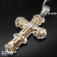 HIGHLANDER GOLD Stainless Steel Big cross Pendant Necklace 60 x 40 mm C-166